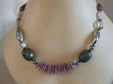 Graphite & Silver Tone Stones Gorgeous Strung Necklace on Cord Lilac,