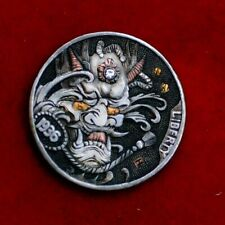 Hobo nickel #20-069/1936 Buffalo Nickels /Gold Gemstone inlay/David HJ. He