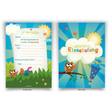 Einladungskarten (8 Stück) zum Selbst ausfüllen Einschulung Schule Motiv wählbar