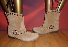 *23* SUPERB NEW LOOK  TAN LEATHER SUEDE ANKLE CHAIN STUD  BOOTS  EU 37 UK 4