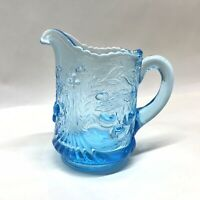 L.G.Wright Blue Wreathed Cherries Glass Creamer Pitcher Vintage