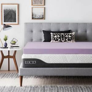 LUCID 2, 3, 4 Inch Lavender Memory Foam Mattress Topper - Twin Full Queen King
