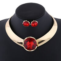 Women Crystal Statement Bib Round Pendant Necklace Earrings Party Jewelry Set