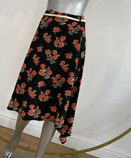 Influence Black Skirt Red Floral D Ring Rope Belt Assymetric Hem Size M 12 EG100