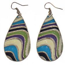 PAIR of Enamel Teardrop Style Dangle Drop Earrings - Vintage Bohemian Boho