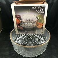 "Vintage JEANNETTE Clear Glass Hospitality Gold 8"" Serving Bowl G2682"
