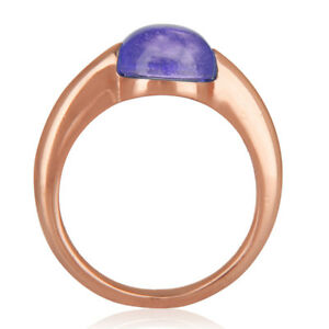 925 Silver Amethyst Gemstone Engagement Ring 18k Rose Gold Plated Jewelry