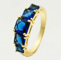 Natural Sapphire Diamond Ring Blue 14K Yellow Gold Women's Wedding Jewelry