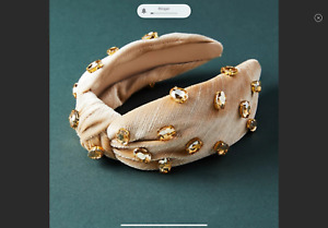 ANTHROPOLOGIE Megan Velvet Embellished Headband In Beige