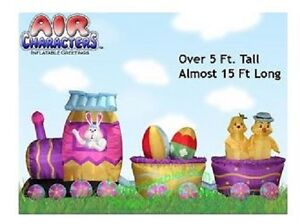 EASTER BUNNY EGG TRAIN CHICK 15 FT  AIRBLOWN INFLATABLE YARD DECORATION