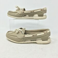 Crocs Beach Line Hybrid Lace Up Boat Shoes Loafers Slip On Canvas Tan Womens 8W