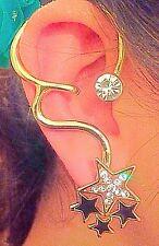 Pair Girls Star Wrap Cuff Earrings Fashion Jewellery Ear Clips Gold Black Clear