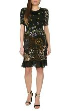 Jumpo London Stretchy Owl Print with Frilly Hem Short Sleeve Jumper Dress S-M