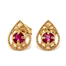 VINTAGE RETRO STYLE GENUINE RUBY 0.30CT 14K SOLID YELLOW GOLD STUDS EARRINGS
