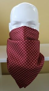 100% Silk Neckerchief, cravat, face covering 25cm square. Burgundy red dotted