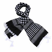 "Black and White Arabic Scarf 100% Cotton Shemagh Keffiyeh Arab Neck Head 47""x47"""