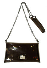 New Clear Black jelly Plastic Transparent See-thru Handbag Purse silver chain