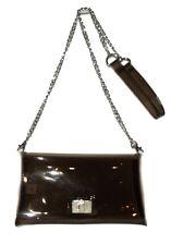New Clear Black jelly Plastic Transparent See-thru Handbag Purse silver chain