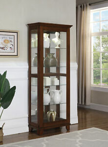 Transitional 5-Shelf Curio Cabinet Chestnut And Clear Adjustable Shelves 950188