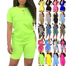 Womens Short Sleeve Tracksuit Tops Shorts Jumpsuit Co Ord Set Sports Loungewear