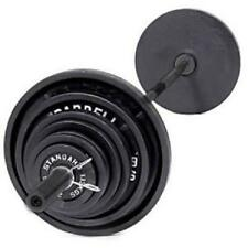 Olympic Barbell Weight Set Cast Iron Workout Bar Plates Kit Weight Lifting 300lb