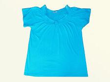 T Chemise Décontractée Tunique Haut pour Femmes Gr. 46 Turquoise Coton Neuf