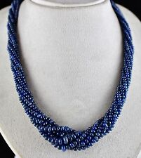 CLASSIC 7LINE 563CTS BLUE SAPPHIRE BEADS NECKLACE RONDELLE WITH SILVER HOOK