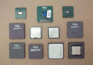 LOTE 11 MICROPROCESADORES DE PC ANTIGUOS, i486DX2, AMD K6, PENTIUM, P III Y MAS