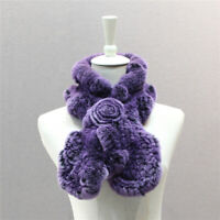 Rex Rabbit Fur Scarves for Womens Winter Real Knitted Fur Floral Style Mufflers