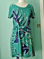 Vtg Womens L Tropical Tantrum Hawaiian Summer Rayon Dress Teal Purple Flared