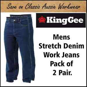 KING GEE K03390 STRETCH DENIM MENS WORK JEANS (Pack of 2) - 21 SIZES AVAILABLE