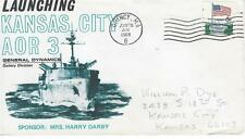Naval Cover Kansas City (AOR-3) June 28 1969 Launching General Dynamics Quincy