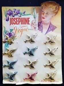 Vintage Hair Barrettes - Metalic Flying Goose Barrette - Full card of 12