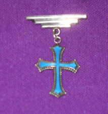 ANTIQUE EDWARDIAN c1900 STERLING SILVER GUILLOCHE ENAMEL CROSS BAR BROOCH PIN