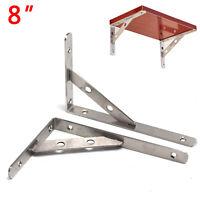 8''Triangle Heavy Duty Stainless Steel L-Shaped Wall Shelf Support Bracket UK