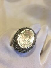Vintage Real Mother Of Pearl Cameo Marcasite Size 9.25 Ring