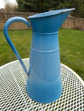 "Vintage 2 Tone French Blue Enamelware Pitcher Graniteware Jug 14.25"" Tall"