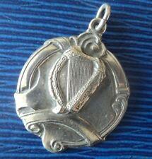 Irish Sterling Silver HARP Fob Medal or Pendant  - Dublin h/m 1938 not engraved