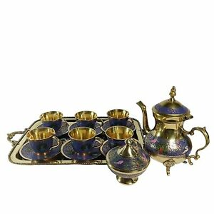 Royal Designer Handmade Brass Vintage Complete Tea Set cups tray Saucer kettle
