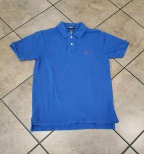 Polo Ralph Lauren Preppy Pullover Shirt Size L 14-16 Blue Short Sleeve Botton