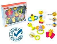 6 Pack Baby Toddler Newborn Rattles Teether Soothing Easy Grip Textured Toy 3m+