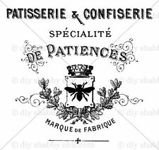 A6 FURNITURE DECAL SHABBY CHIC IMAGE TRANSFER STICKERS BEE PATISSERIE FRENCH ART