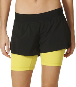 Adidas Two-in-One Gym Shorts S94491 - Black / Yellow - XS