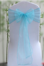 25x Aqua-blue Organza Sheer Chair Sashes Wedding Banquet Party Events Decoration