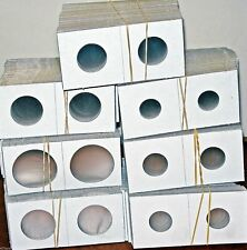 "Mixed Lot 100 Pcs 2"" X 2"" Cardboard Coin Flips/Holders ( 7 Sizes )"