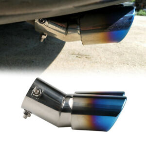 Universal Car Auto Rear Dual Exhaust Pipe Tail Muffler Tip Throat Blue Tailpipe