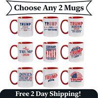 2 Pack -Fun Donald Trump Red Handle Ceramic Coffee Mug MAGA Re-Elect Trump Pence