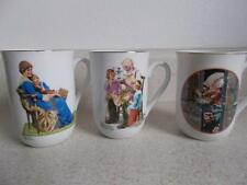 lot of 3 Norman Rockwell Museum Cups Mug Imm Toymaker Bedtime Old Man Winter vtg