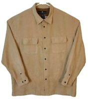 Consensus Mens Button Front Shirt Brown Long Sleeve Point Collar Two Pockets XL