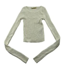 Hollister Sweater Size XS Juniors White Cotton Blend Stretch Knit Fitted Ribbed